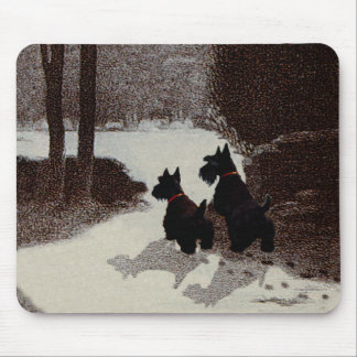 Scotties on Surreal Winter Night Mouse Mat