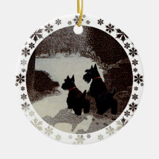 Scotties on Surreal Winter Night Round Ceramic Decoration