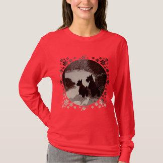 Scotties on Surreal Winter Night T-Shirt