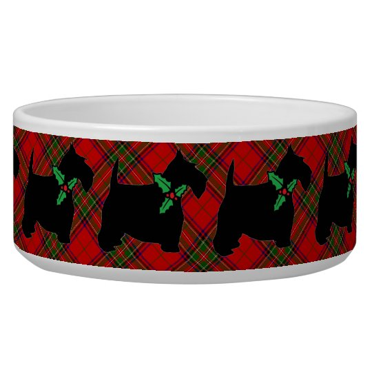 Scotties, Plaid and Holly Pet Water Bowls