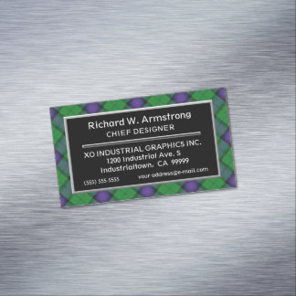 Scottish Accent Clan Armstrong Tartan Magnetic Business Card