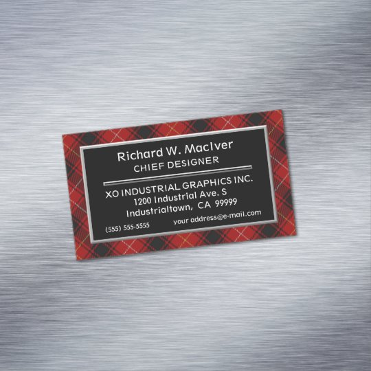 Scottish Accent Clan MacIver Tartan Magnetic Business Card