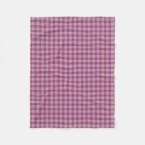 Scottish Accents Pink Yellow Tartan Plaid Fleece Blanket