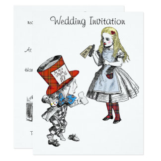 Scottish Alice in Wonderland Wedding Invitation