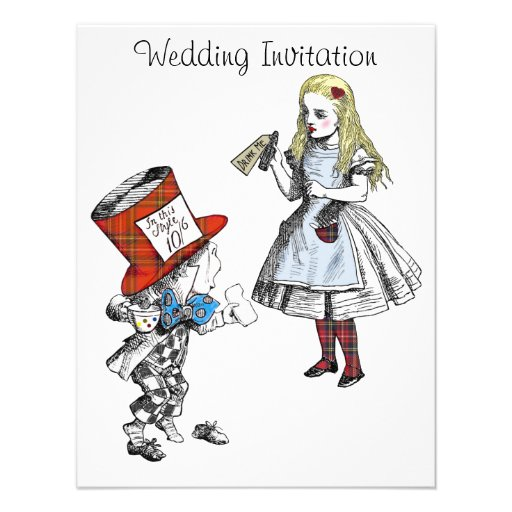 Scottish Alice in Wonderland Wedding Invitation