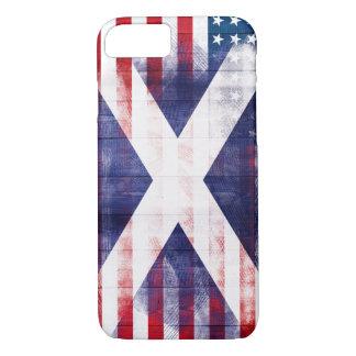Scottish American Flag | Wood Grain & Paintstrokes iPhone 8/7 Case