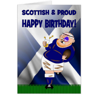 Scottish and Proud Beer Rugby Birthday Card