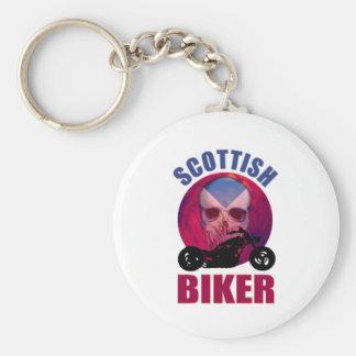 Scottish Biker Skull Chop Basic Round Button Key Ring