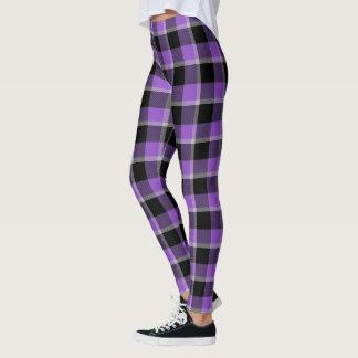 Scottish Blast Purple and Black Tartan Plaid Leggings