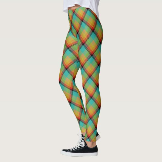 Scottish Blast Turquoise Red and Yellow Tartan Leggings