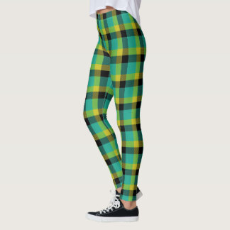 Scottish Blast Turquoise Yellow and Black Tartan Leggings