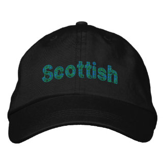 Scottish Blue Green Tartan Cap Embroidered Hats