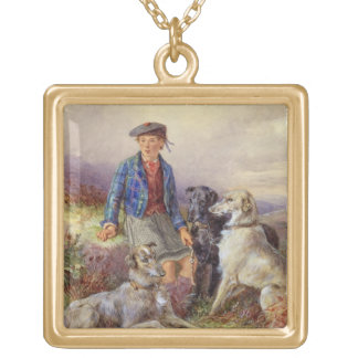 Scottish boy with wolfhounds in a Highland landsca Gold Plated Necklace