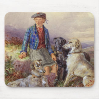 Scottish boy with wolfhounds in a Highland landsca Mouse Mat