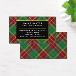 Scottish Clan Baxter Tartan Plaid Business Card