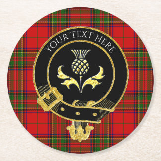 Scottish Clan Crest Thistle Tartan Round Paper Coaster