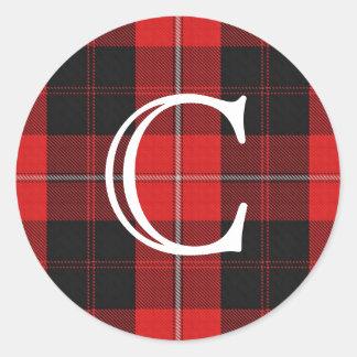 Scottish Clan Cunningham Tartan With Monogram Classic Round Sticker