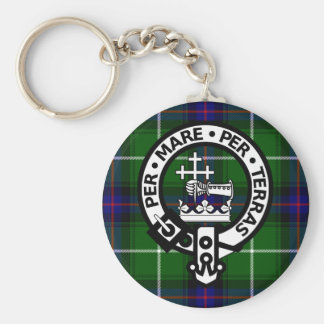 Scottish Clan Donald Tartan and Crest Basic Round Button Key Ring