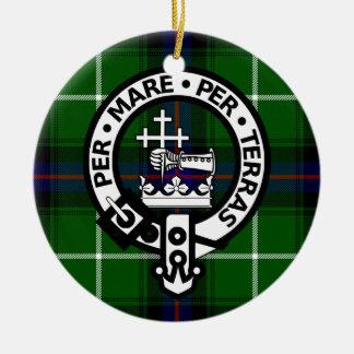 Scottish Clan Donald Tartan and Crest Round Ceramic Decoration