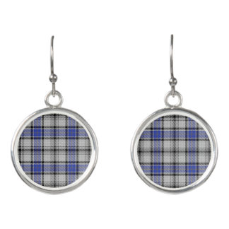 Scottish Clan Hannay White Blue Tartan Plaid Earrings