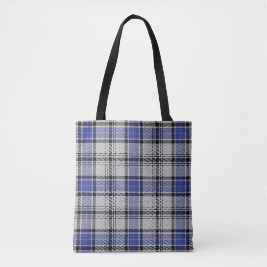 Scottish Clan Hannay White Blue Tartan Plaid Tote