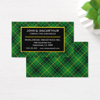 Scottish Clan MacArthur Tartan Plaid Business Card