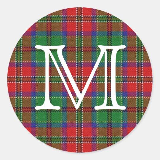 Scottish Clan MacCulloch Tartan With Monogram Classic Round