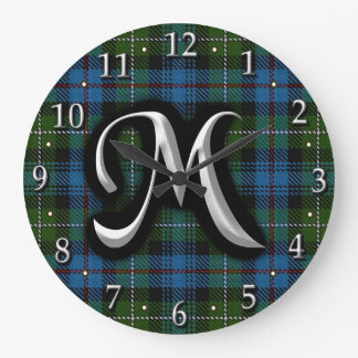 Scottish Clan MacKenzie Letter M Monogram Tartan Large Clock
