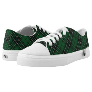 Scottish Clan MacLean Green Black Hunting Tartan Printed Shoes