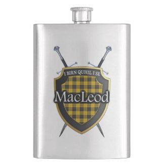 Scottish Clan MacLeod Tartan Shield and Swords Hip Flask