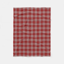 Scottish Clan Menzies Red White Classic Tartan Fleece Blanket