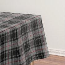 Scottish Clan Moffat Grey Black Red Tartan Tablecloth