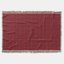 Scottish Clan Rose Modern Red Tartan Throw Blanket