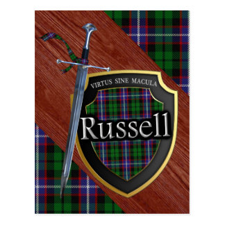 Scottish Clan Russell Tartan Sword & Shield Postcard