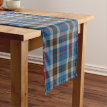 Scottish Clan Thompson Blue Grey Tartan Plaid Short Table Runner