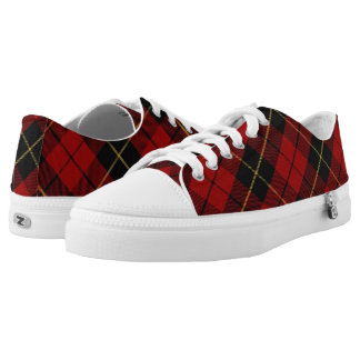 Scottish Clan Wallace Classic Red and Black Tartan Low Tops