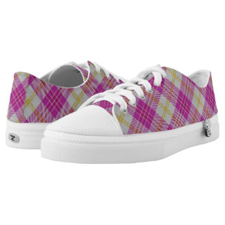 Scottish Classic Accents Pink Yellow Tartan Plaid Printed Shoes