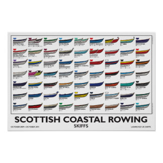 Scottish Coastal Rowing Poster - Skiffs, 5 yr. v4