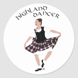 Scottish Country Dancer Round Sticker