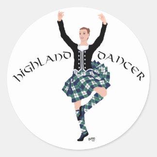 Scottish Dancer Highland Fling Classic Round Sticker