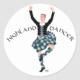 Scottish Dancer Highland Fling Round Sticker