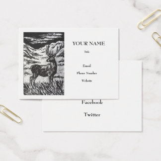Scottish Deer in Highland Glen Monochrome Linocut Business Card