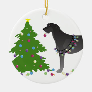Scottish Deerhound Christmas Design Round Ceramic Decoration