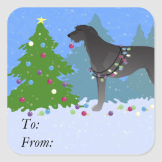 Scottish Deerhound Christmas Tree in the forest Square Sticker