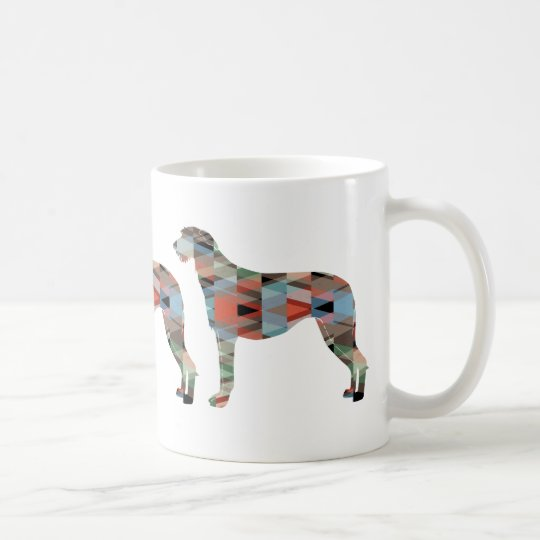 Scottish Deerhound Geometric Pattern Silhouette Coffee Mug