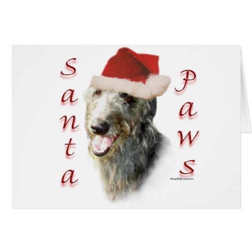 Scottish Deerhound Santa Paws Card