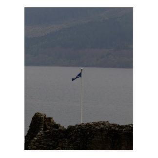 Scottish flag flying high on Urquhart Castle Postcard