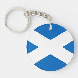 Scottish Flag of Scotland Saint Andrew's Cross Double-Sided Round Acrylic Key Ring