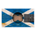 Scottish Flag on Old Acoustic Guitar Business Card Templates