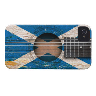 Scottish Flag on Old Acoustic Guitar Case-Mate iPhone 4 Cases